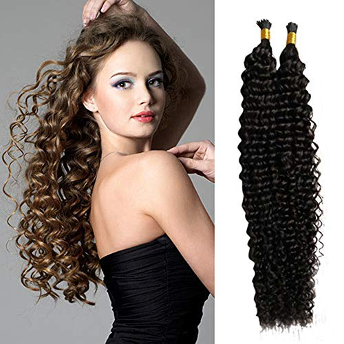 RemeeHi Brazilian I Tip Hair Extensions Human Hair Curly Easy Stick Tip to Your Hair 50g 18 Inch Per Pack 4# Medium Brown