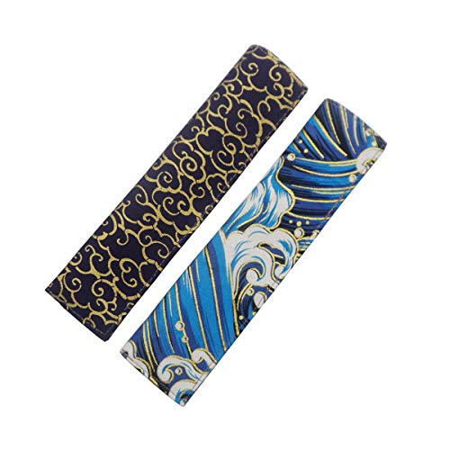 Enyuwlcm Fabric Fountain Pen Case Single Pen Sleeve Holder for Pocket Vintage Pen Cover Waves and Propitious Clouds 2 Packs
