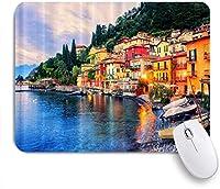 VAMIX マウスパッド 個性的 おしゃれ 柔軟 かわいい ゴム製裏面 ゲーミングマウスパッド PC ノートパソコン オフィス用 デスクマット 滑り止め 耐久性が良い おもしろいパターン (旧市街の湖イタリアの夕方の日没の光)