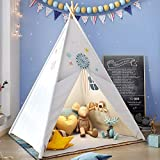 Teepee Play Tent for Kids with Gifts Floor Mat, Star Lights, Coloured Flag, Feathers, Carry Case, Indoor Outdoor Playhouse for Baby and Toddler, Toys for Boys and Girls-ASTM Certified