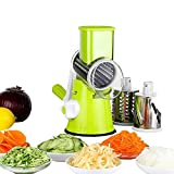 1Set Vegetable Mandoline Chopper,Manual Vegetable Slicer Fruit Cutter Rotary Cheese Grater Cheese Shredder,Rotary Drum Grater with 3 Stainless Steel Rotary Cutters(Green)