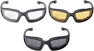 XCSOURCE 3 Pairs Motorcycle Sport Bike Riding Glasses Padded Wind-Resistant Sunglasses Goggles Smoke/Clear/Yellow Lens MA1267