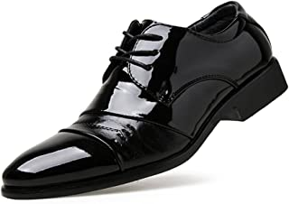 shangruiqi Men's Business Oxfords Summer Job Interview Semi-Formal Black Formal Shoes Abrasion Resistant (Color : Black, Size : 7.5 UK)