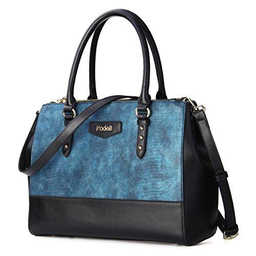 Kadell Frauen Elegant Leder Handtaschen Tote Schulter Beutel Krokodil Muster Crossbody Geldbeutel große Kapazität Blau