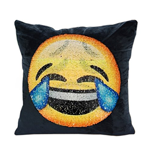 Mermaid suquin Kissenbezüge, snug Star wendbar Emoji-Kissen Bezug Wechselhafte Face Kissen Kissenbezug DIY Deko für Sofa Home Decor 40,6 x 40,6 cm (Helpless and crying)