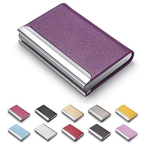 Tarjetero para tarjetas de visita, de piel sintética de lujo, para tarjetas de visita, con tarjetero y estuche de acero inoxidable, para tarjetas de crédito