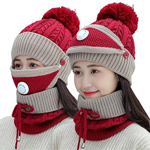 Buhui Juego de 3 bufandas de invierno para mujer con filtro de punto grueso, gorro bufanda para la cara al aire libre