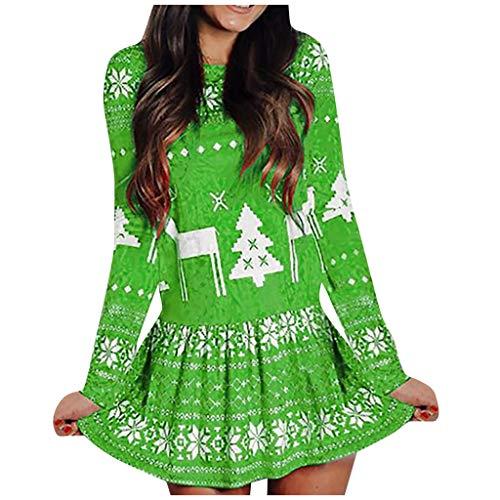 Vestido de Mujer, Vestido Corto Delgado de Manga Larga con Cuello en O Estampado navideño de Mujer Verde M
