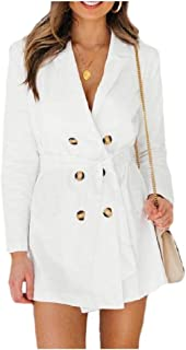 MogogoWomen Double Button Solid Color Lapel Strappy Long Sleeve Coat Jacket