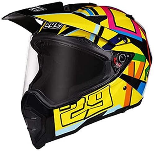 ZWJ Cascos De Motocross para Adultos Certificación Dot/ECE Casco Integral De Motocicleta Casco De Protección Integrado Casco De Motocicleta Cuatro Estaciones (Color : D, Size : XL)