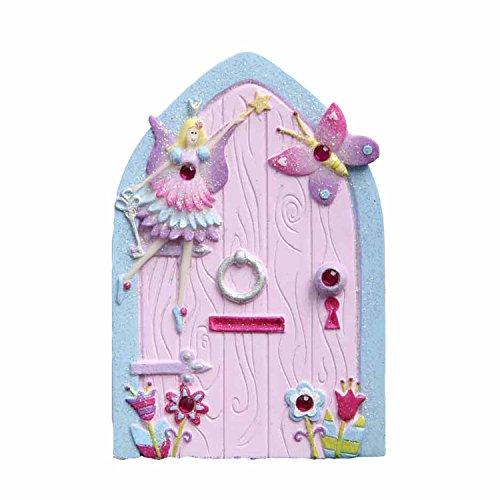 Lucy Locket Pequeña puerta rosa y celeste de hadas con purpurina para decorar la habitación de las niñas