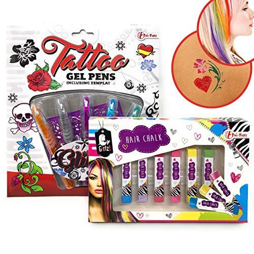 DDS Tattoo Gel Stifte Haarkreide Set - Haare Bund färben & Glitzer Tattoo Gel Stifte für die Haut | Gitter Pens + Haarfarbe als Geschenk der Spielspaß für Kinder | Cooles für Jede Mädchen Party