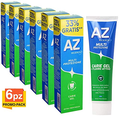 6 x Dentifricio AZ Multi Protezione Carie Gel Verde Promo Pack 6 Confezioni 100ml