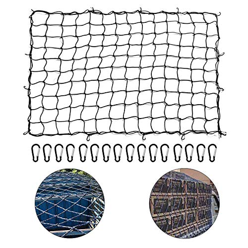 Stretches to 6x8 Leader Accessories 3x4 Premium Duty Bungee Cargo Net 3x3 Narrow Grid with 12 Aluminum Carabiners 12 ABS Hooks for Oversized Rooftop Cargo Rack /& Small Trucks