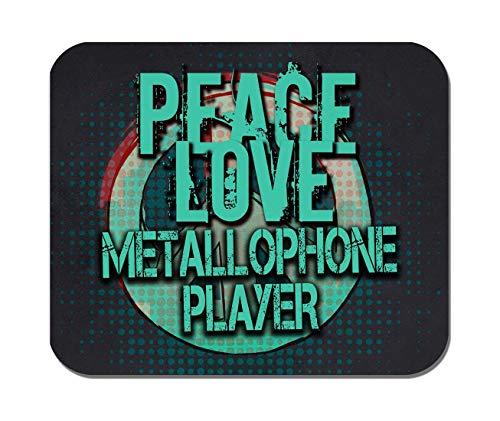 Makoroni - Peace Love METALLOPHONE Player Music- Non-Slip Rubber - Computer, Gaming, Office Mousepad