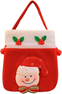 Nesee Christmas Home Decor- Nonwoven Portable Candy Bags for Kids Toys, Sled Shape Portable Sweet Snack Bag Cartoon Deer Pattern Snowman