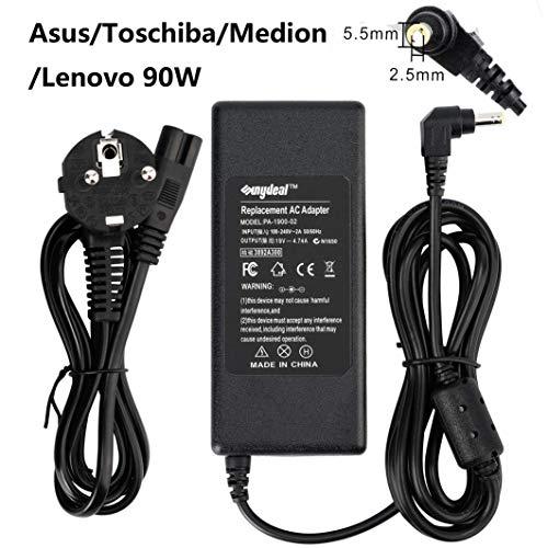 Sunydeal®  Caricatore Notebook per Toshiba/Lenovo/Medion/Asus Adattatore PC Portatile Alimentatore Spina italiana output: 19V 4.74A 90W 65W Caricatori alimentatori Caricabatterie Connettore: 5.5X2.5MM
