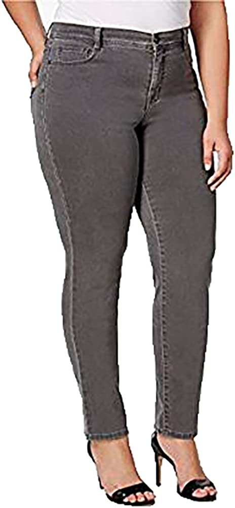 Style & Co. Womens Plus Twill Mid-Rise Slim Jeans Gray 18W