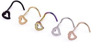 GOOTUUG Confezione da 5 Pezzi in Acciaio Inox Heart Value 20G di Assorted Clear CZ Nose Ring