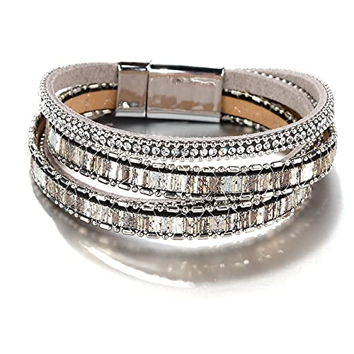 TTNM ALLYES Women Leather Bracelet 2020 Czech Crystal Vintage Boho Multiple Layered Bohemian Double Wrap Bracelet Femme Jewelry (Metal Color: Gray)