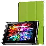 Funda de Lobwerk para la tableta Acer Iconia Tab 10A3-A50de 10,1pulgadas, con función Sleep/Wake, función atril y lápiz capacitivo verde verde