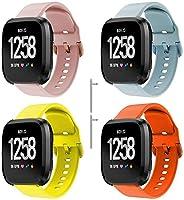 コンパチブル Fitbit Versa 2 (フィットビット ヴァーサ 2) / Versa/Versa Lite 時計バンド 互換性のある ソフトシリコンバンド スポーツバンド (4-Pack B)