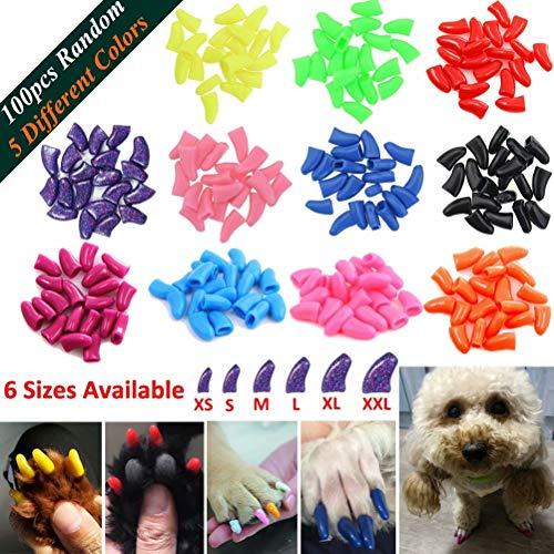 JOYJULY 100pcs Haustier Hündchen Hunde Nail Kappen, steuern weiche Klaue Tatze von 5 Random+5 Klebstoff Kleber,M