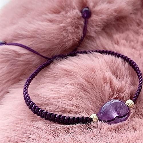 Pulsera de la riqueza Feng Shui Feng Shui Lucky Bracelet para mujer Amatista natural Hebilla segura Braidada Pulsera Pulsera de piedras preciosas Cristal GEM Charm Pulsera Talismán ajustable para pros