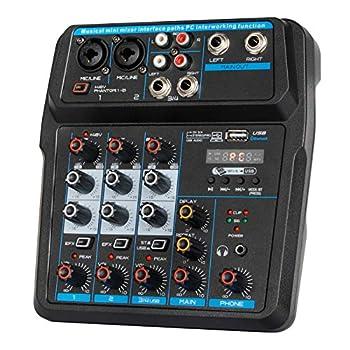 Depusheng U4 Audio Mixer 4-CHANNEL USB Audio Interface Audio Mixer DJ Sound Controller Interface with USB,Soundcard for PC Recording,USB Audio Interface Audio Mixer,w/Dynamic Mic for Live Streaming