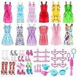 ASANMU Accesorios para Muñecas Dolls, Ropa y Zapatos para Dolls, Complementos Dolls Mini Vestidos de Moda para Dolls, Perchas y Accesorios de Cocina Regalo de Cumpleaños Niñas (50 Piezas)