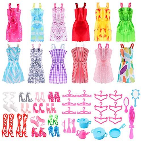 ASANMU 50 Pezzi Vestiti e Accessori per Bambole Dolls, Abito per Dolls Gonna Moda Scarpe Oggetto Rosa Grucce per Bambole Dolls Accessori per della Ragazza Compleanno Regalo Natale Giorno dei Bambini
