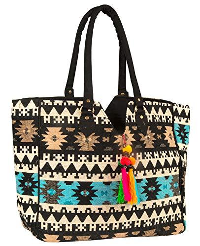 TribeAzure Blue Aztec Large Tote Shoulder Bag Handbag Quilted Canvas Books Market Beach College Picnic