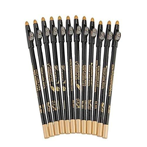 Nicetruc 12 PCS 3 in 1 Wasserdicht Lange Augenbraue-Feder Multifunktions-Eye Liner Bleistift mit Sharpener Deckel schwarz