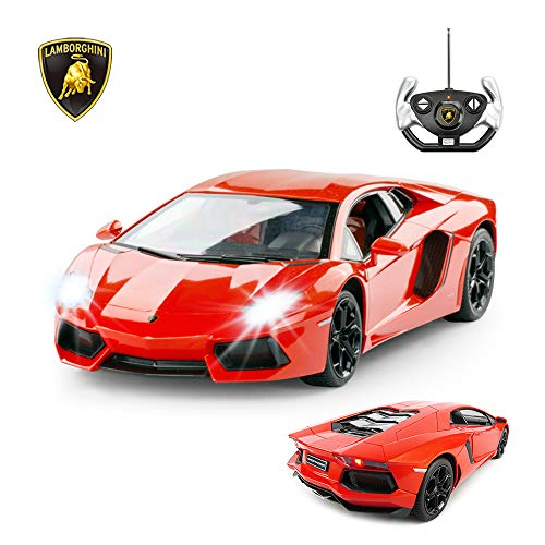 RASTAR RC Lamborghini Toy Car, 1:14 Lamborghini Aventador LP700-4 Remote Control Car, Working Lights - Orange