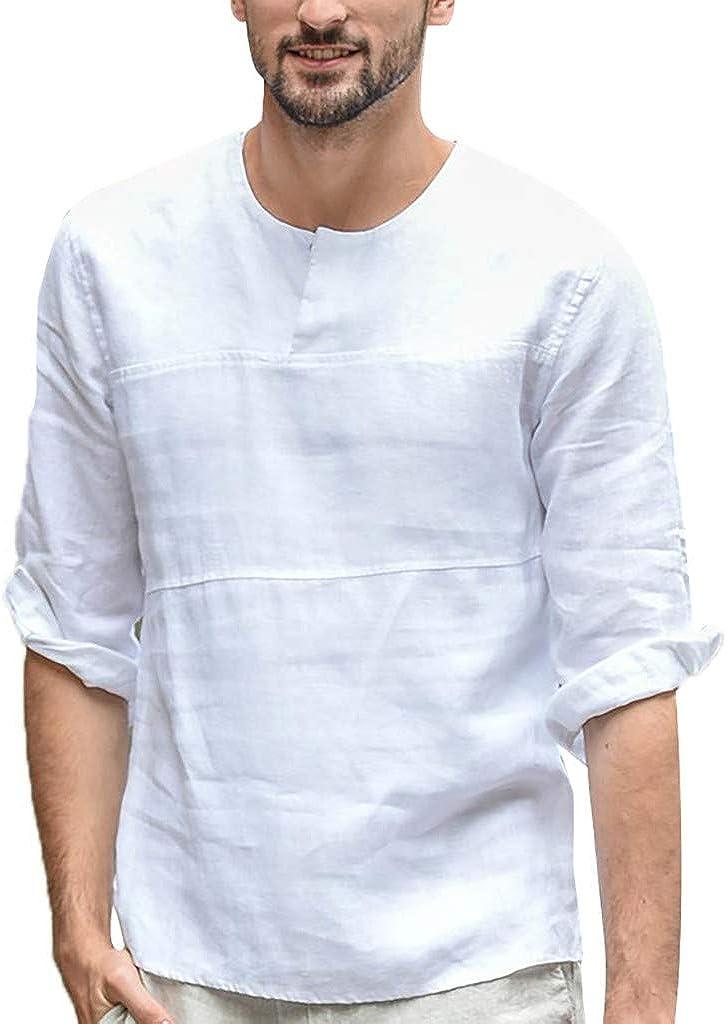 UBST Men's Cotton Linen 3/4 Sleeve Tops, Fall Crewneck Button Down Casual Shirts Beach Loose T-shirts Tops