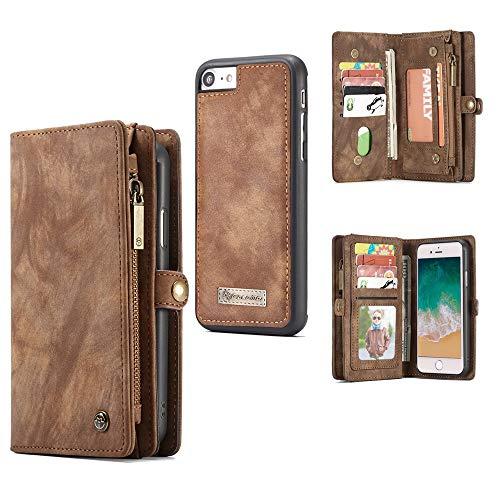 Aralinda Funda de piel sintética multifuncional con cremallera y diseño desmontable, compatible con iPhone 7/8 (4,7 pulgadas) (color marrón)