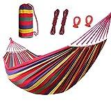 MeYuxg Hamaca de jardín portátil, doble hamaca, 280 x 80 cm, carga máxima 200 kg, utilizada para césped de jardín, terraza, playa, bosque, camping, hamaca, rayas rojas