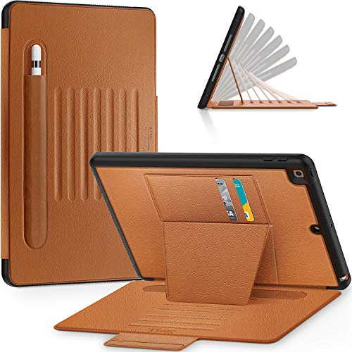 Timecity iPad 7th Generation Case (iPad 10.2 Case). Very Protective But Convenient Magnetic Stand + Smart Sleep/Wake + Elastic Apple Pencil Pocket + Card Holder Cover for iPad 7th Gen, Black/Brown