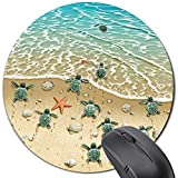 Sea Turtle Mouse Pad Round,Cute Funny Mousepad Desktop Notebook Mouse Mat for Working and Gaming - Beach Ocean Starfish Shell