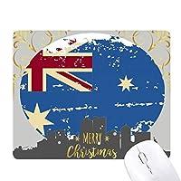 オーストラリアのフラグのレトロ風味のイラスト クリスマスイブのゴムマウスパッド