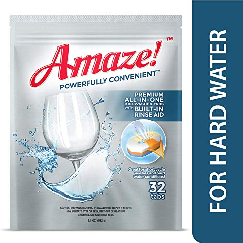 AMAZE Premium All-in-One Dishwasher Tablets - Powerful Hard Water Performance! (Case of 10-32 Count Packs)