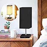 Touch Control Bedside Table Lamp with 4 USB Ports 3 Way Dimmable Reading Light, XZN Modern Nightstand Lamp with Black Square Fabric Shade for Bedroom, Office, Living Room, LED Bulb Included