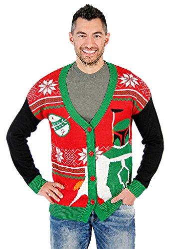 Star Wars Boba Fett Ugly Christmas Cardigan Sweater (Large)