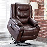 EVER ADVANCED Lift Chair Recliner, Electric Recliners for Elderly Living Room Chair with Heating Vibration Massage, Remote Control, USB Port, Cup Holder & Side Pocket for Home, Office (Brown)