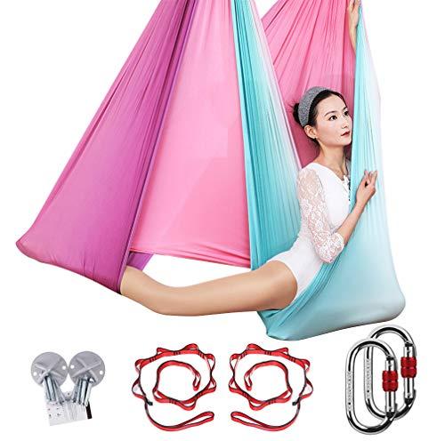 KIKIGOAL 5M Yoga Pilates Aerial Silk Kit Yoga Swing Aerial Yoga Antigravity Hammock Trapeze Silk Fabric for Yoga Strap Bodybuilding (Gradual G)