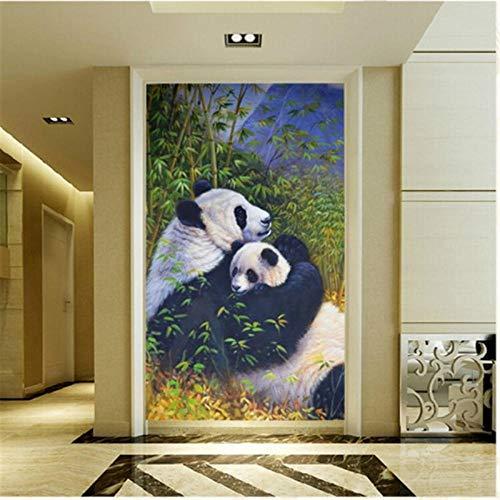 ZJfong behang nieuw Chinees schilderij bamboe panda moeder en zoon diepe gevoelens van bank woonkamer TV achtergrond muur 220 x 140 cm.