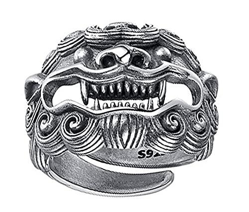 RXSHOUSH Anillo para hombre de plata de ley 925 abierta dominante Lucky Pixiu anillo de joyería para hombre