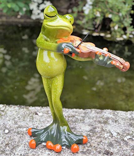 Dekostüberl Rostalgie Kunststein Musiker Frosch mit Geige 16x11cm Geschenk Instrument Musik