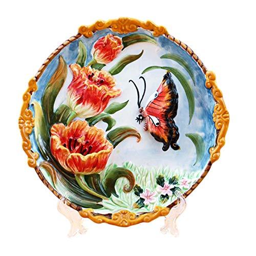 Dinner Plates Decoración casera Moderna Placa Ornamental de cerámica Decoración China Decoración Encantadora Placa de Paisaje Conjunto de Pared 21,5 cm (Color : A)
