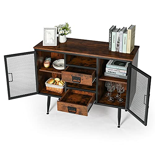"""45.66"""" Modern Sideboard Buffet Storage Cabinet, Tv Cabinet with 2 Doors, 2 Drawers, 8 Storage Spaces, Iron and Wooden Sideboards (Dark Walnut)"""